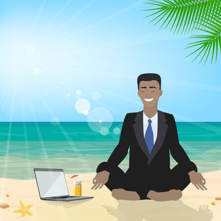 vacation with laptop: Business man sitting on the beach meditating in the lotus position in the suit. Business tourism. Vector Illustration