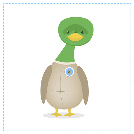 Duck funny isolated on a white background. Childrens toy with the button. Vector cartoon Illustration