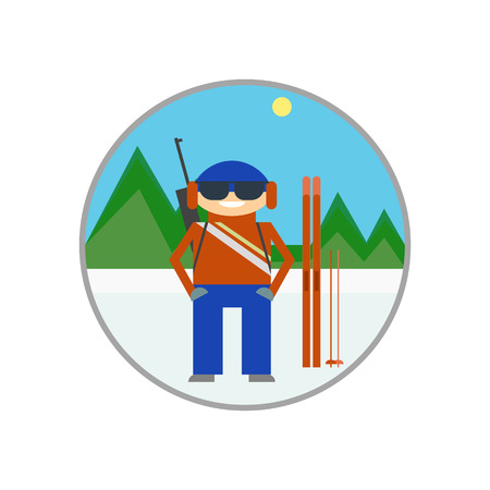 Skiers on the background of mountain scenery, biathlon, alpine skiing. Icon, sign, vector