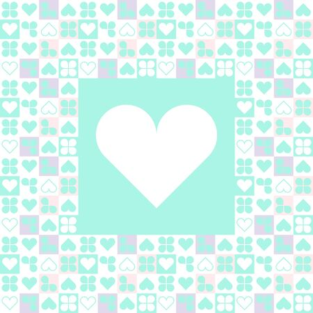 Cover Postcard with heart for Valentine's Day. Vector blue and peach Ilustração