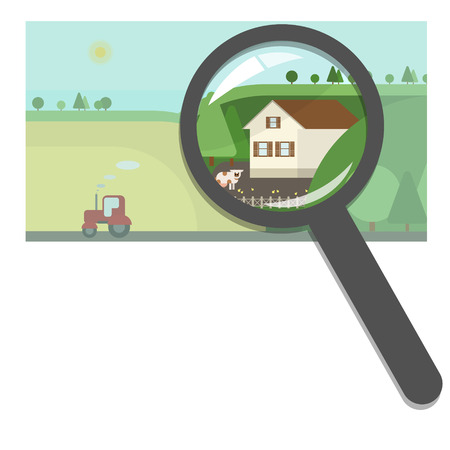 Buying and selling real estate, real estate agency. Farm and country houses, searching for the right property. Concept vector flat Illustration
