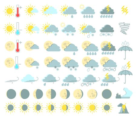 thunderstorms: Weather set of colored icons. Illustration