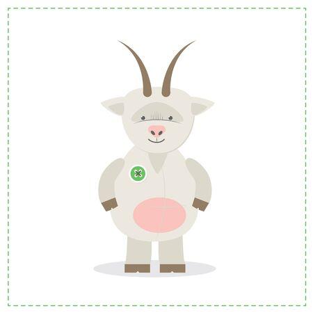 Plush toy goat, printed sewn toy. Vector illustration Illustration