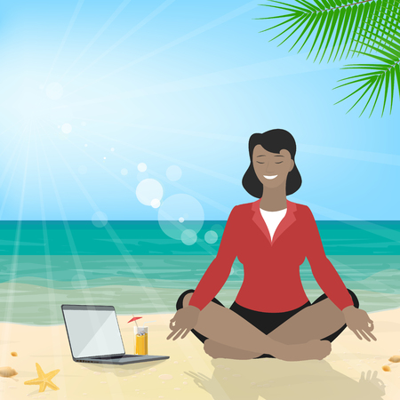Woman African American sitting on the beach meditating in the lotus position in the suit. Business tourism. Vector Illustration