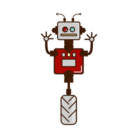 The robot, icon, logo. Robot on hinges, unicycle, robotics. cartoon Vector