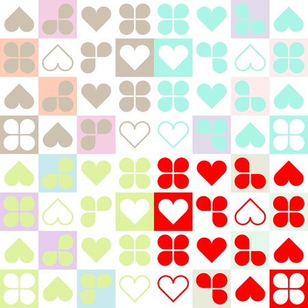 Set backgrounds with hearts and leaves. Seamless texture with hearts. Vector Illustration