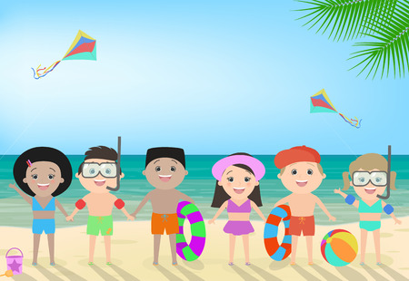 i like my school: Children on the beach. Beach childrens recreation, childrens camp, different nationalities. Vector cartoon