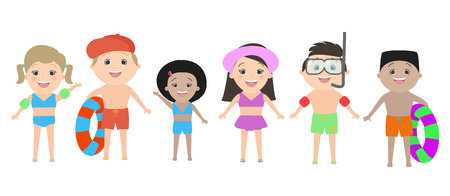 i like my school: Children of different nationalities in beach clothes isolated on white background. Vector cartoon Illustration