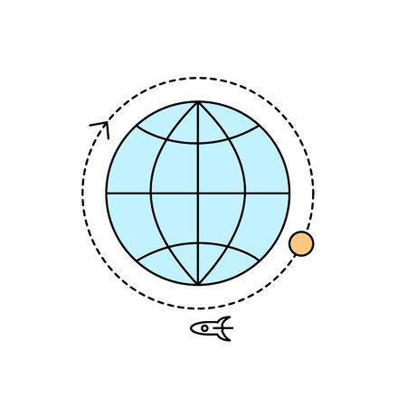 flat earth: Icon of the globe. Illustration