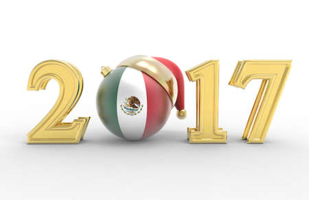 happy new year banner: 2017 happy new year with country flag Stock Photo