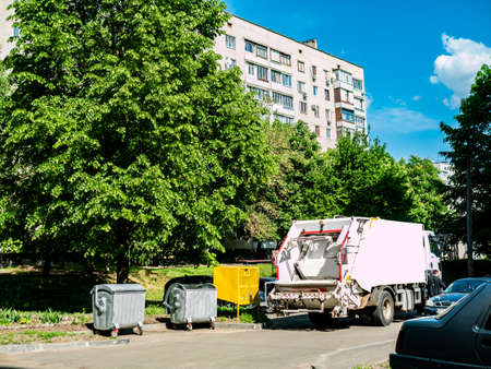 the garbage truck takes out the garbage. Concepts of environmental pro. Housing and utilities concepts Stock Photo
