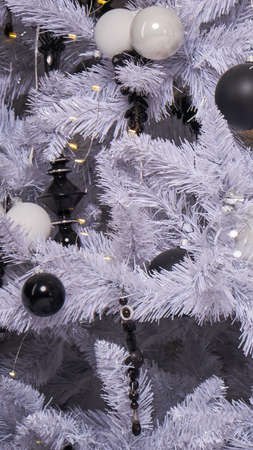 Black and White Christmas tree close up background.