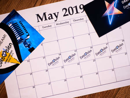 KYIV, UKRAINE - February 2019: Schedule of Eurovision Song Contest 2019. Dare To Dream, Heart as Symbol of Eurovision