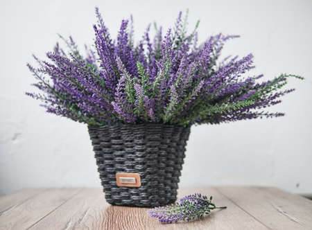 Bunch of lavander on wooden background. Spring concept 스톡 콘텐츠
