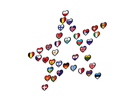 Europe Flags made Star on white background. Song contest. Illustration 스톡 콘텐츠