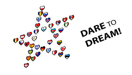 Europe Flags made Star on white background. Song contest. With lettering Dare To Dream Illustration