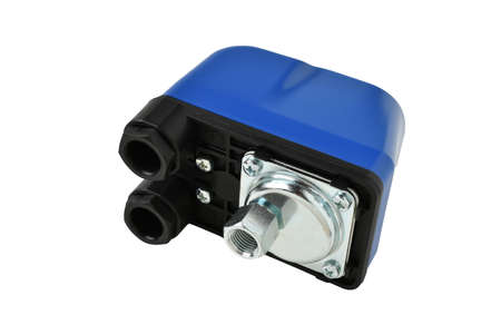 Automatic pressure switch Ral for water pump, Electric coil, for water supply station. For pumping water. isolated on a white background.