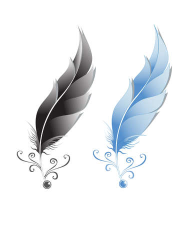 An illustration of two feathers in color variations