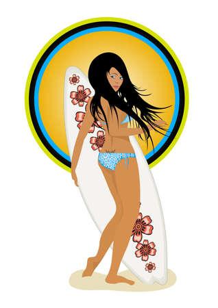 chica surf: Una chica surfista con una tabla de surf ilustraci�n Vectores
