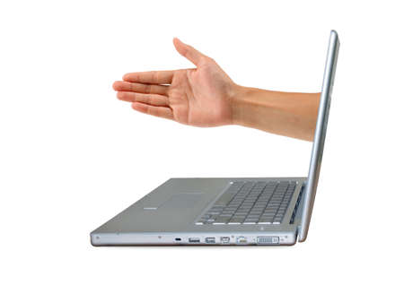 A silver laptop computer, offering a handshake