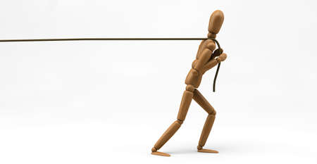 3D image of a wooden mannequin pulling a rope