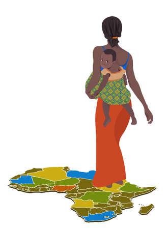 femme africaine: Une illustration d'une femme africaine avec son enfant Illustration