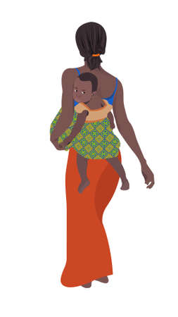 An illustration of an African woman with her child