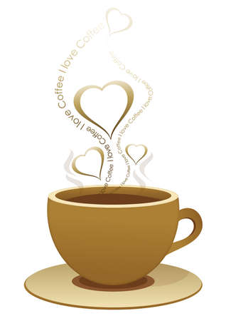 A cup of coffee with hearts above Illustration