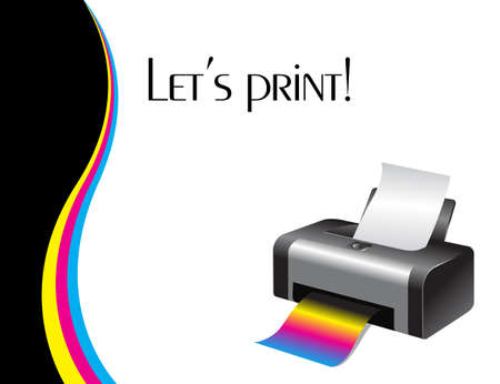 An illustration of a colorful printer