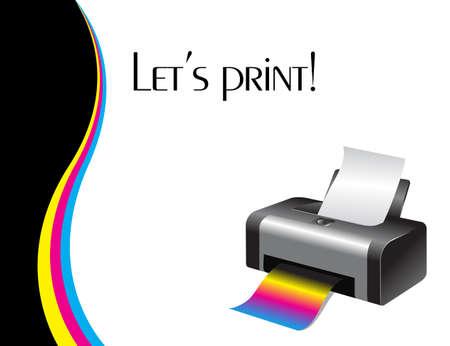 impresora: Un ejemplo de una impresora a color Vectores