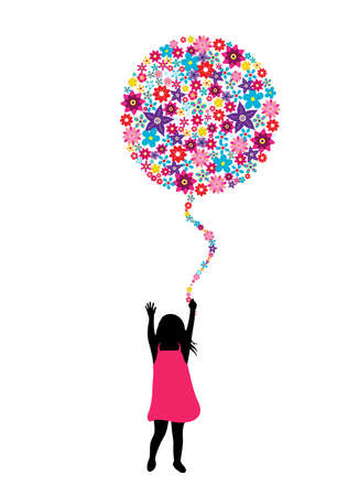 A girl holding a flower made balloon