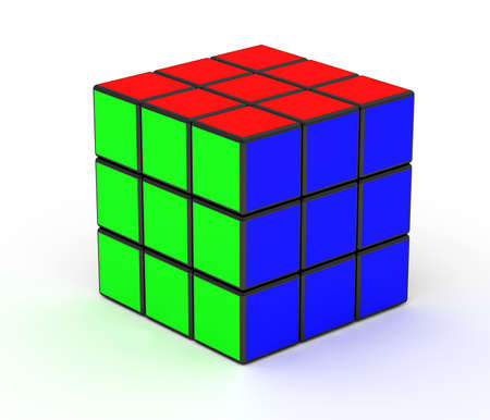 3D image of a Rubik Cube isolated over white background