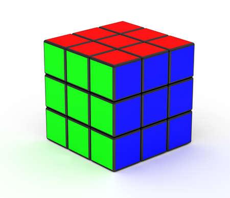 Image 3D d'un Rubik Cube isolés sur fond blanc Banque d'images - 4417964