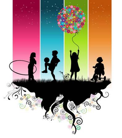 Enfants jouant Banque d'images - 4417972