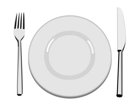 A vector illustration of an empty dinner plate, a fork and a knife Illustration
