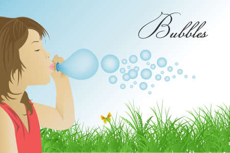 Girl with bubbles Vector