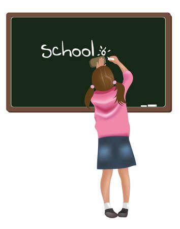 Young girl writing on blackboard Vector