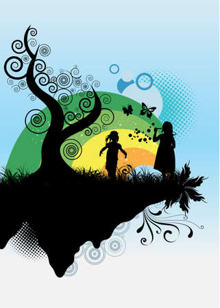 Kids playing Stock Vector - 4538460