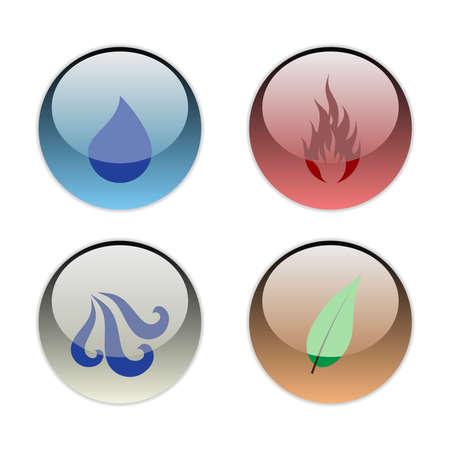 cuatro elementos: Los cuatro elementos de la naturaleza (Tierra, Viento, Agua, Fuego)