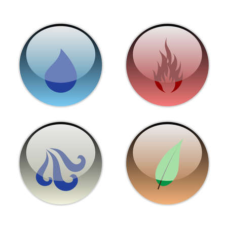 The Four Elements of Nature (Earth, Wind, Water, Fire) Illustration