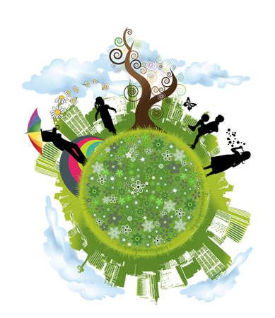 緑の世界  イラスト・ベクター素材