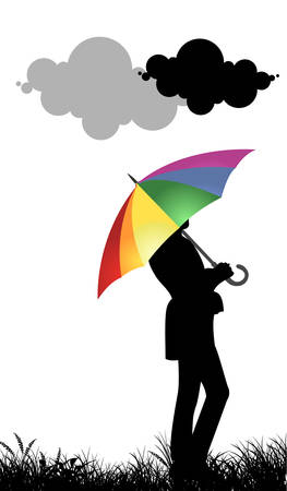 Colorful umbrella  Ilustrace