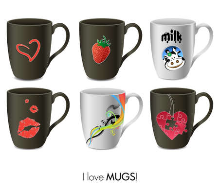 Mugs collection Vector