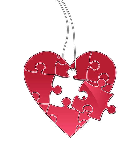 Heart puzzle tag