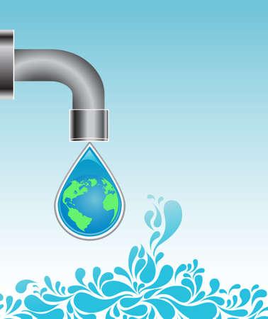 Water drop - globe  Stock Vector - 4794441