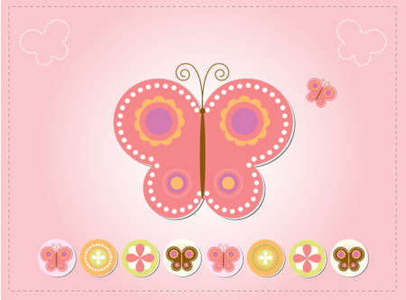 feminine background: Pink butterfly card