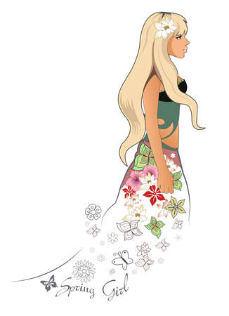 An illustration of a blonde spring girl Stock Vector - 4947053