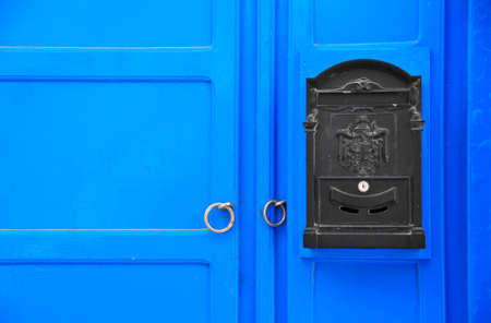 cycladic: Cycladic blue door with postbox