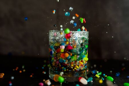 a beads: glass, water, color beads, bubbles, air, water stream