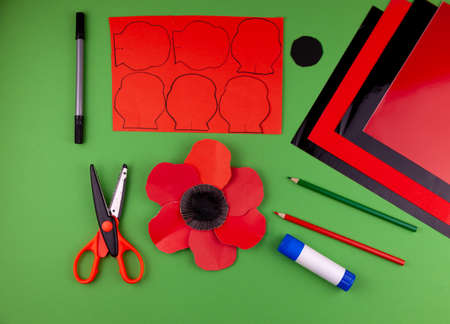 Step 9. Step by step instructions. How to make a red poppy from colored paper. Creative crafts for Victory Day. Memorial Day of the victims of the war in Ukraine. Paper flower. Do it yourself.
